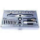 24 PIECE SAE & NC TAP & DIE SET WITH RATCHETING WRENCH (1011-0124)